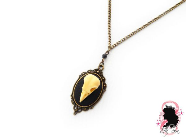"1.5"" Antique Bronze Bird Skull Cameo Necklace"
